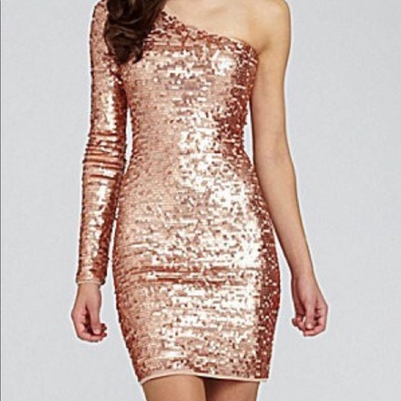69949009b736fd BCBG Dresses   Skirts - BCBG Gold sequin one sleeve dress